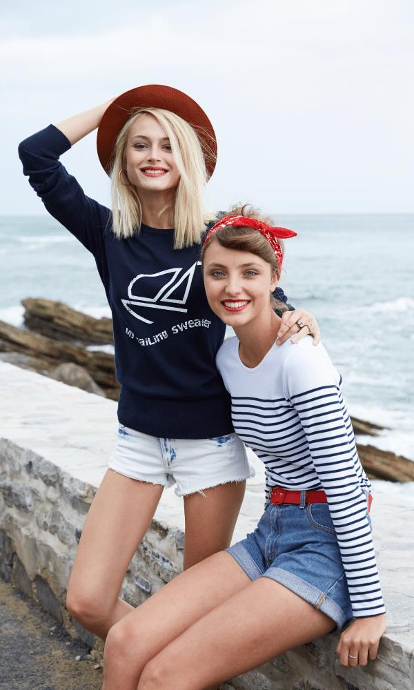 tee-shirt femme manches longues style marinière différents modèles et coloris