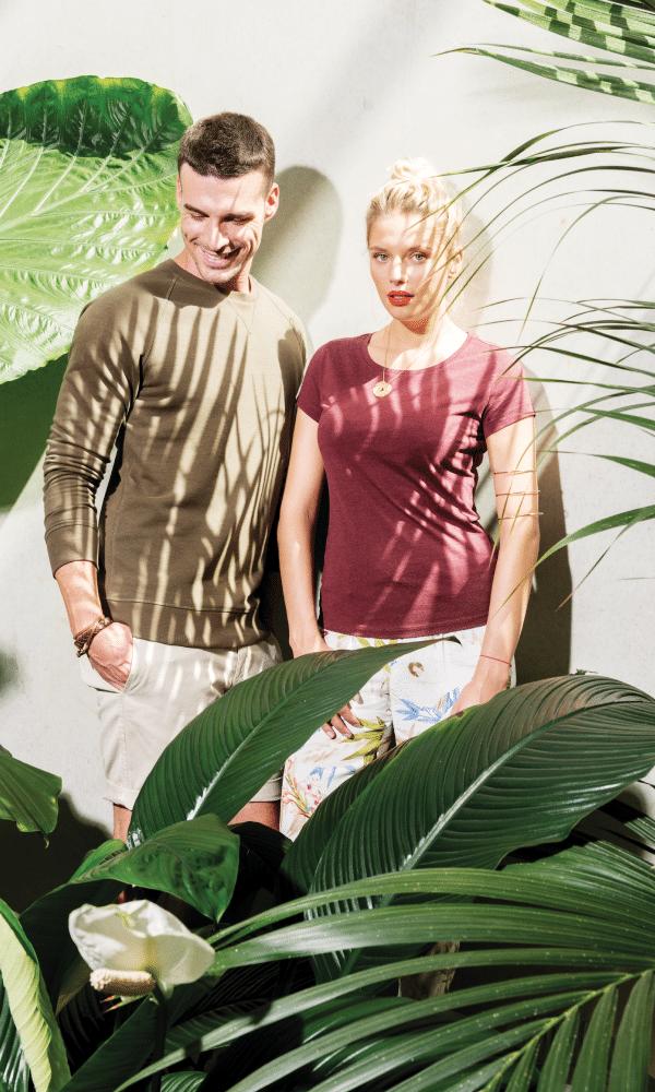 tee-shirts pour homme et pour femme différents modèles et coloris collection tropic