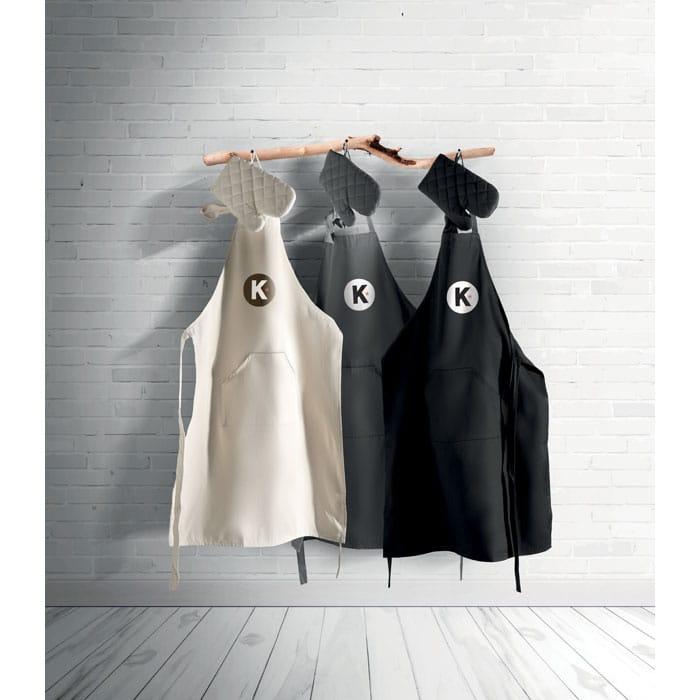 ensemble cuisine tablier manique et gant avec sac de rangement